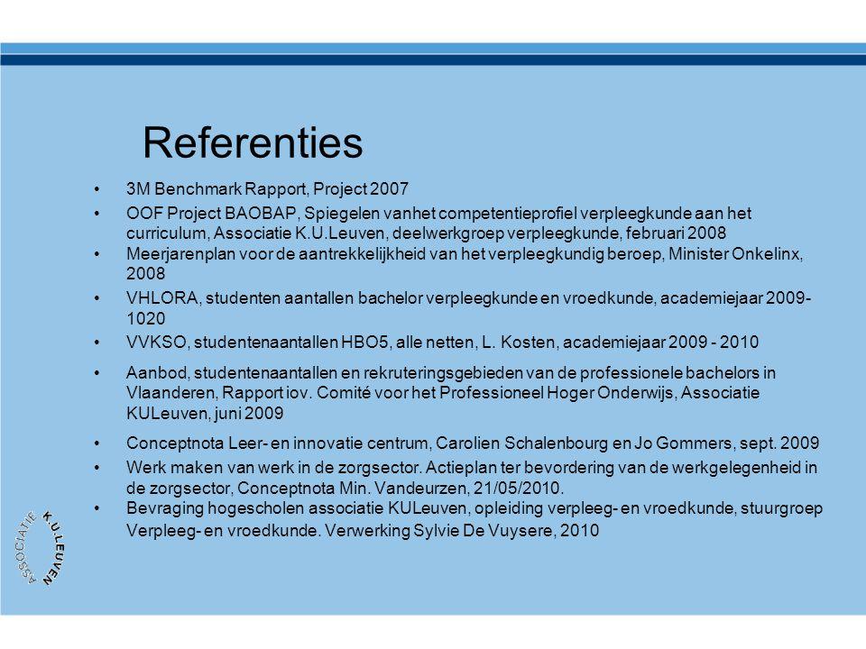 Referenties •3M Benchmark Rapport, Project 2007 •OOF Project BAOBAP, Spiegelen vanhet competentieprofiel verpleegkunde aan het curriculum, Associatie