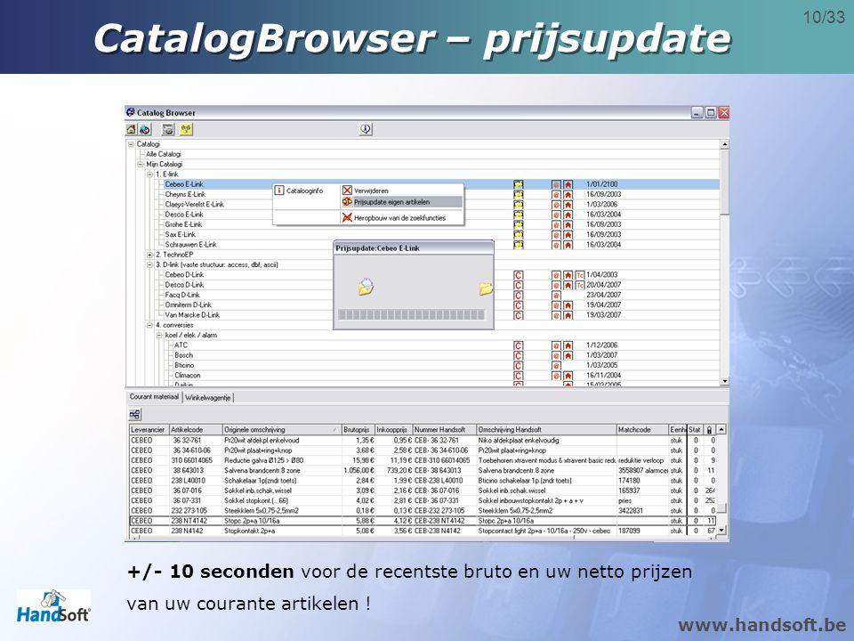 www.handsoft.be 10/33 CatalogBrowser – prijsupdate +/- 10 seconden voor de recentste bruto en uw netto prijzen van uw courante artikelen !