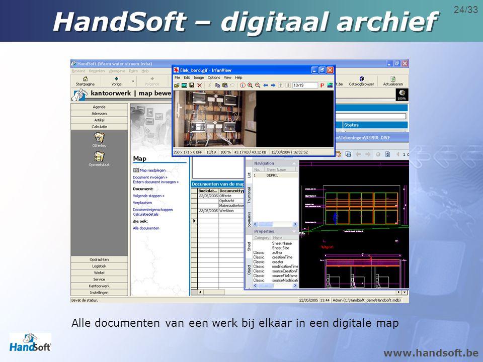 www.handsoft.be 24/33 Alle documenten van een werk bij elkaar in een digitale map HandSoft – digitaal archief