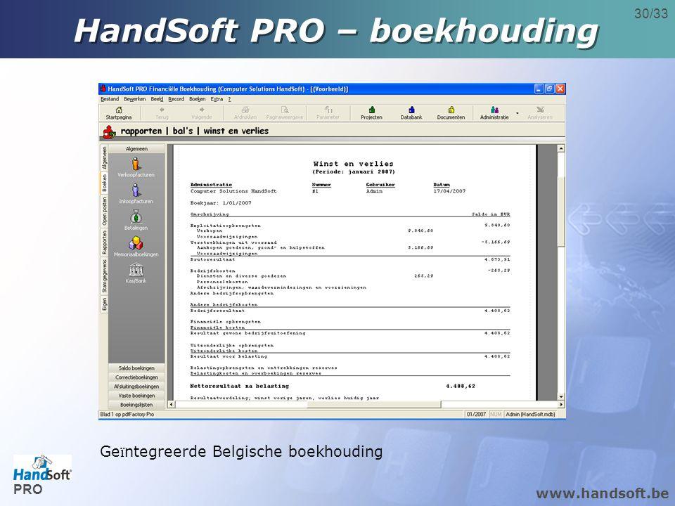 www.handsoft.be 30/33 Ge ï ntegreerde Belgische boekhouding HandSoft PRO – boekhouding PRO