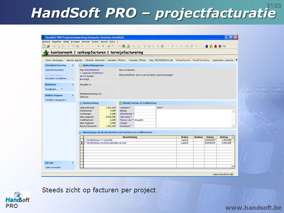 www.handsoft.be 31/33 Steeds zicht op facturen per project HandSoft PRO – projectfacturatie PRO