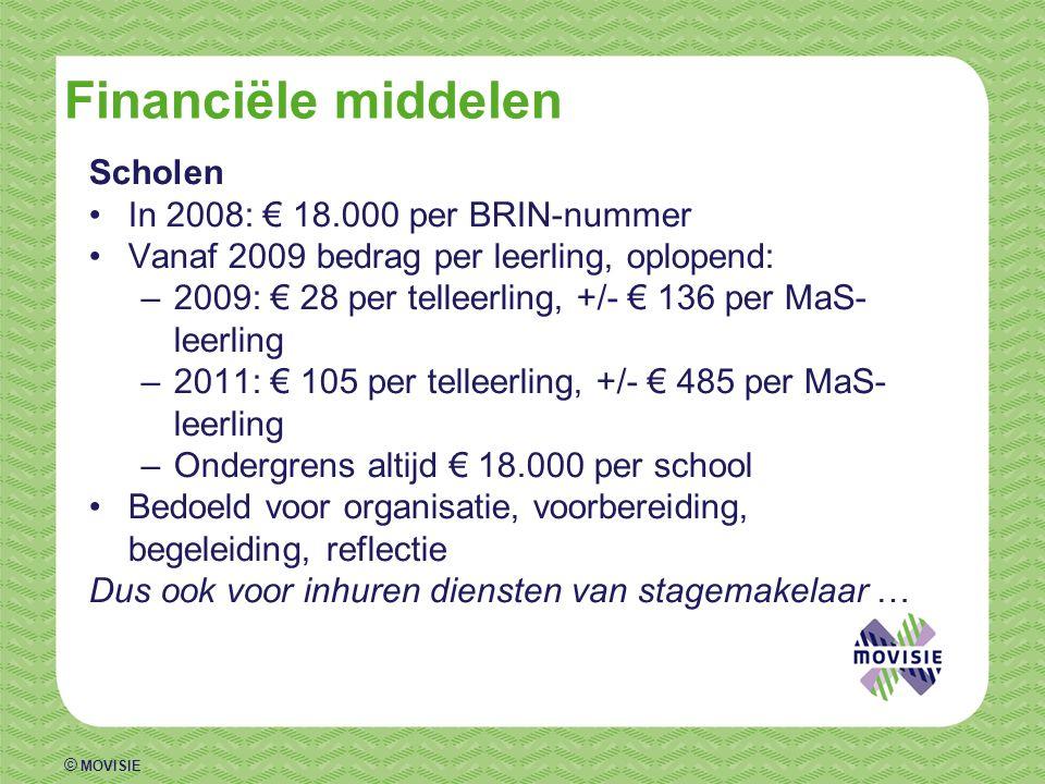 © MOVISIE Financiële middelen Scholen •In 2008: € 18.000 per BRIN-nummer •Vanaf 2009 bedrag per leerling, oplopend: –2009: € 28 per telleerling, +/- € 136 per MaS- leerling –2011: € 105 per telleerling, +/- € 485 per MaS- leerling –Ondergrens altijd € 18.000 per school •Bedoeld voor organisatie, voorbereiding, begeleiding, reflectie Dus ook voor inhuren diensten van stagemakelaar …