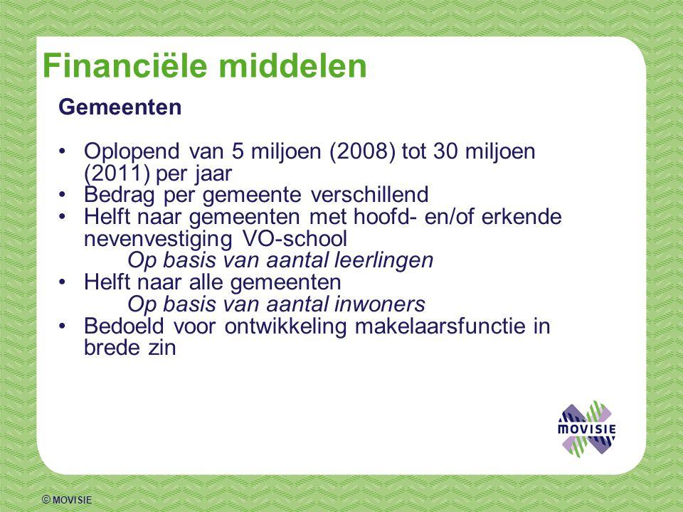 © MOVISIE Financiële middelen Gemeenten •Oplopend van 5 miljoen (2008) tot 30 miljoen (2011) per jaar •Bedrag per gemeente verschillend •Helft naar ge