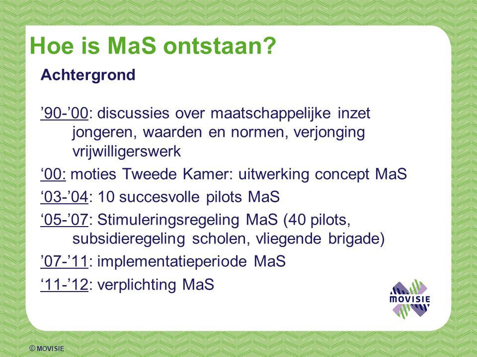 © MOVISIE Hoe is MaS ontstaan? Achtergrond '90-'00: discussies over maatschappelijke inzet jongeren, waarden en normen, verjonging vrijwilligerswerk '