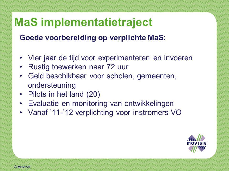 © MOVISIE MaS implementatietraject Goede voorbereiding op verplichte MaS: •Vier jaar de tijd voor experimenteren en invoeren •Rustig toewerken naar 72