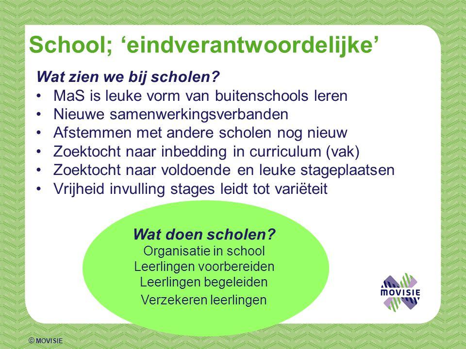 © MOVISIE School; 'eindverantwoordelijke' Wat zien we bij scholen? •MaS is leuke vorm van buitenschools leren •Nieuwe samenwerkingsverbanden •Afstemme