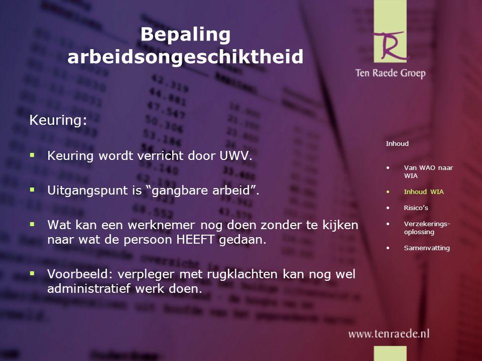 """Bepaling arbeidsongeschiktheid Keuring:  Keuring wordt verricht door UWV.  Uitgangspunt is """"gangbare arbeid"""".  Wat kan een werknemer nog doen zonde"""