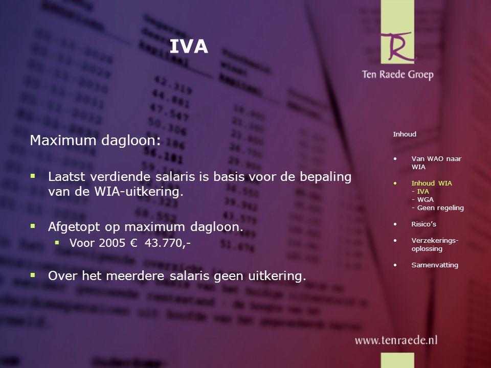 IVA Maximum dagloon:  Laatst verdiende salaris is basis voor de bepaling van de WIA-uitkering.  Afgetopt op maximum dagloon.  Voor 2005 € 43.770,-