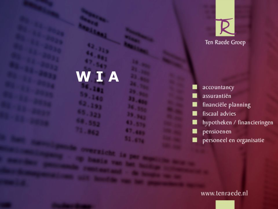WGA Fase 1: WGA-loongerelateerde uitkering: Tijdsperiode op basis van leeftijd: Leeftijduitkeringsperiode jonger dan 23 jaar6 maanden 23 t/m 27 jaar9 maanden 28 t/m 32 jaar1 jaar 33 t/m 38 jaar1,5 jaar 39 t/m 42 jaar2 jaar 43 t/m 47 jaar2,5 jaar 48 t/m 52 jaar3 jaar 53 t/m 57 jaar4 jaar 58 jaar en ouder8 jaar Inhoud •Van WAO naar WIA •Inhoud WIA - IVA - WGA - Geen regeling •Risico's •Verzekerings- oplossing •Samenvatting