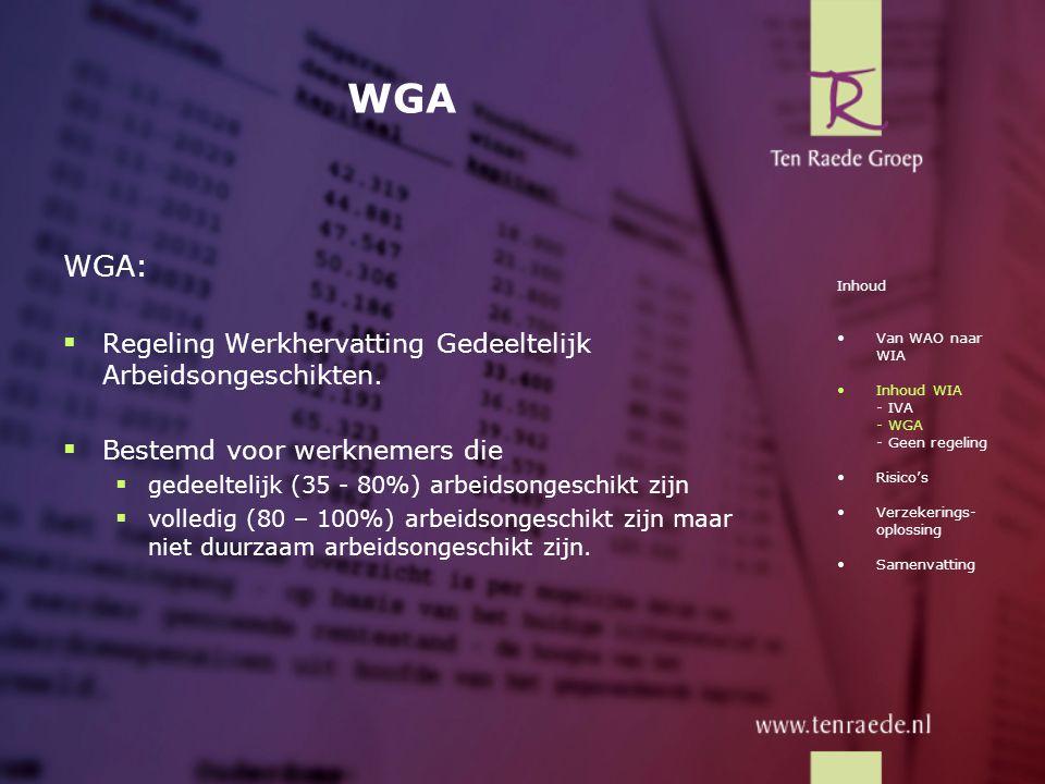 WGA WGA:  Regeling Werkhervatting Gedeeltelijk Arbeidsongeschikten.  Bestemd voor werknemers die  gedeeltelijk (35 - 80%) arbeidsongeschikt zijn 