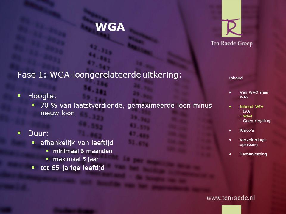 WGA Fase 1: WGA-loongerelateerde uitkering:  Hoogte:  70 % van laatstverdiende, gemaximeerde loon minus nieuw loon  Duur:  afhankelijk van leeftij