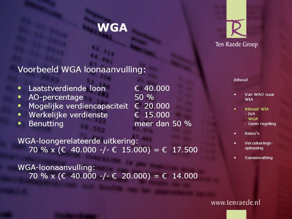 WGA Voorbeeld WGA loonaanvulling:  Laatstverdiende loon€ 40.000  AO-percentage50 %  Mogelijke verdiencapaciteit€ 20.000  Werkelijke verdienste€ 15