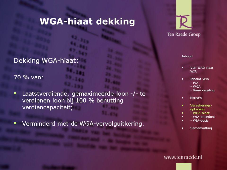 WGA-hiaat dekking Dekking WGA-hiaat: 70 % van:  Laatstverdiende, gemaximeerde loon -/- te verdienen loon bij 100 % benutting verdiencapaciteit;  Ver