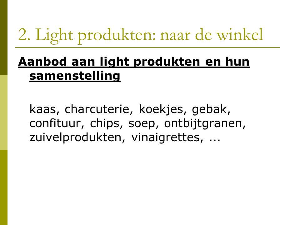 2. Light produkten: naar de winkel Aanbod aan light produkten en hun samenstelling kaas, charcuterie, koekjes, gebak, confituur, chips, soep, ontbijtg