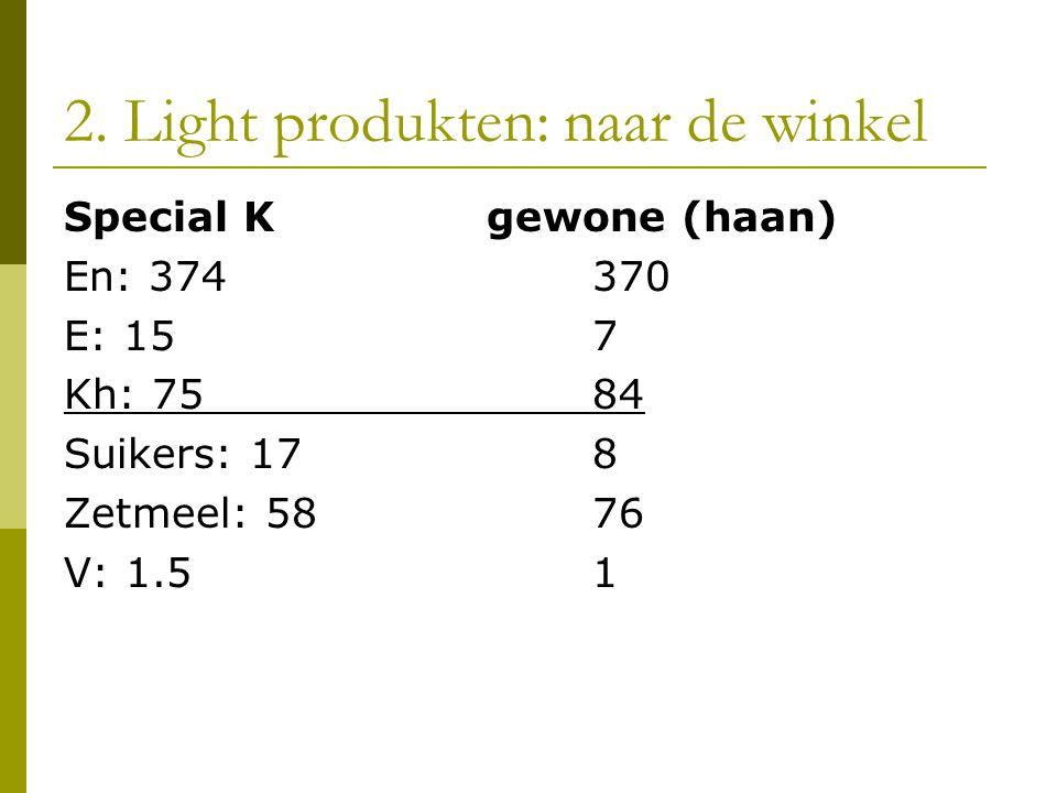 2. Light produkten: naar de winkel Special Kgewone (haan) En: 374370 E: 157 Kh: 7584 Suikers: 178 Zetmeel: 5876 V: 1.51