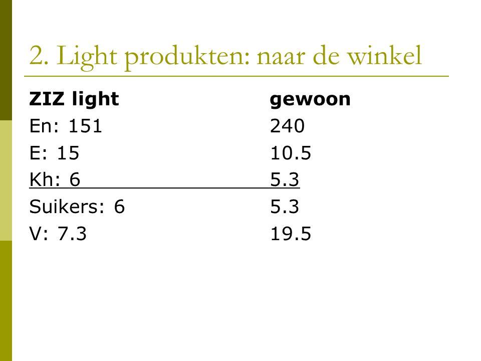 2. Light produkten: naar de winkel ZIZ lightgewoon En: 151240 E: 1510.5 Kh: 65.3 Suikers: 65.3 V: 7.319.5