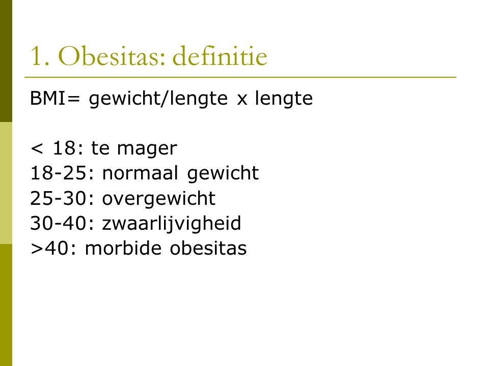 1. Obesitas: definitie BMI= gewicht/lengte x lengte < 18: te mager 18-25: normaal gewicht 25-30: overgewicht 30-40: zwaarlijvigheid >40: morbide obesi