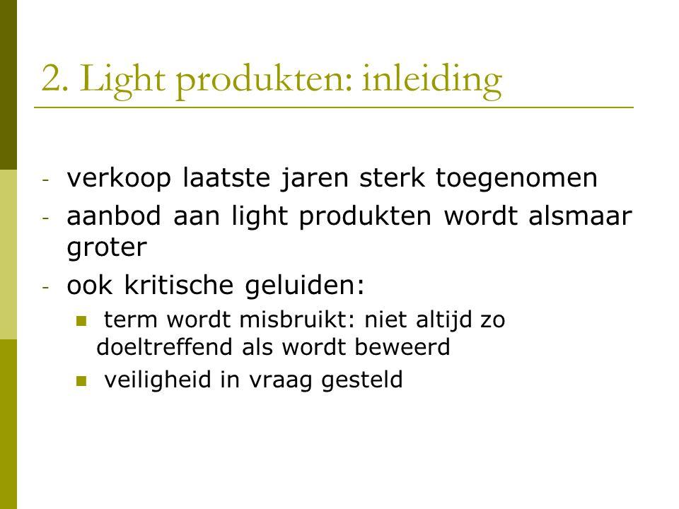 2. Light produkten: inleiding - verkoop laatste jaren sterk toegenomen - aanbod aan light produkten wordt alsmaar groter - ook kritische geluiden:  t