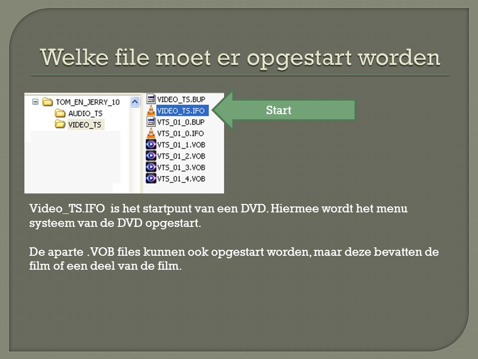 Video_TS.IFO is het startpunt van een DVD. Hiermee wordt het menu systeem van de DVD opgestart.