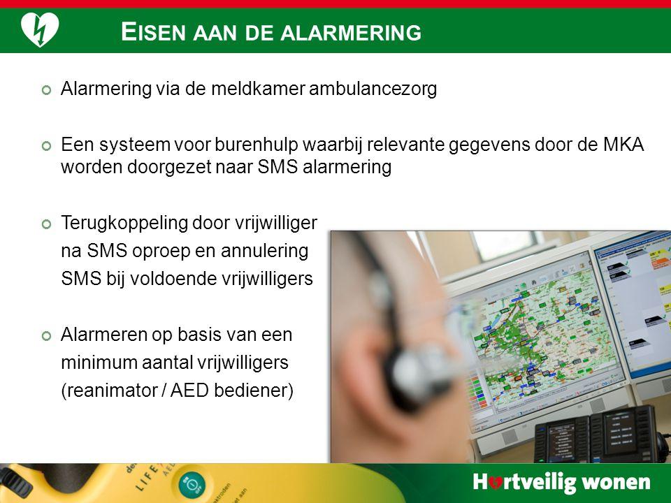 Alarmering via de meldkamer ambulancezorg Een systeem voor burenhulp waarbij relevante gegevens door de MKA worden doorgezet naar SMS alarmering Terug