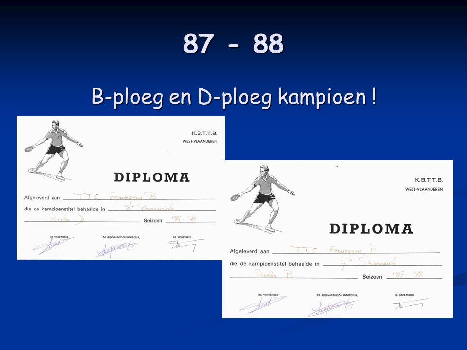 87 - 88 B-ploeg en D-ploeg kampioen !