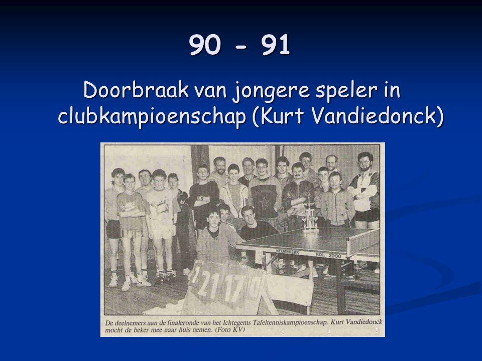 90 - 91 Doorbraak van jongere speler in clubkampioenschap (Kurt Vandiedonck)