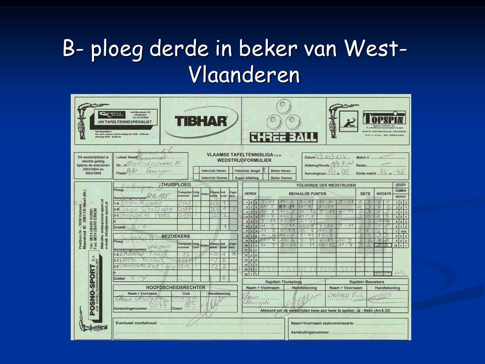 B- ploeg derde in beker van West- Vlaanderen