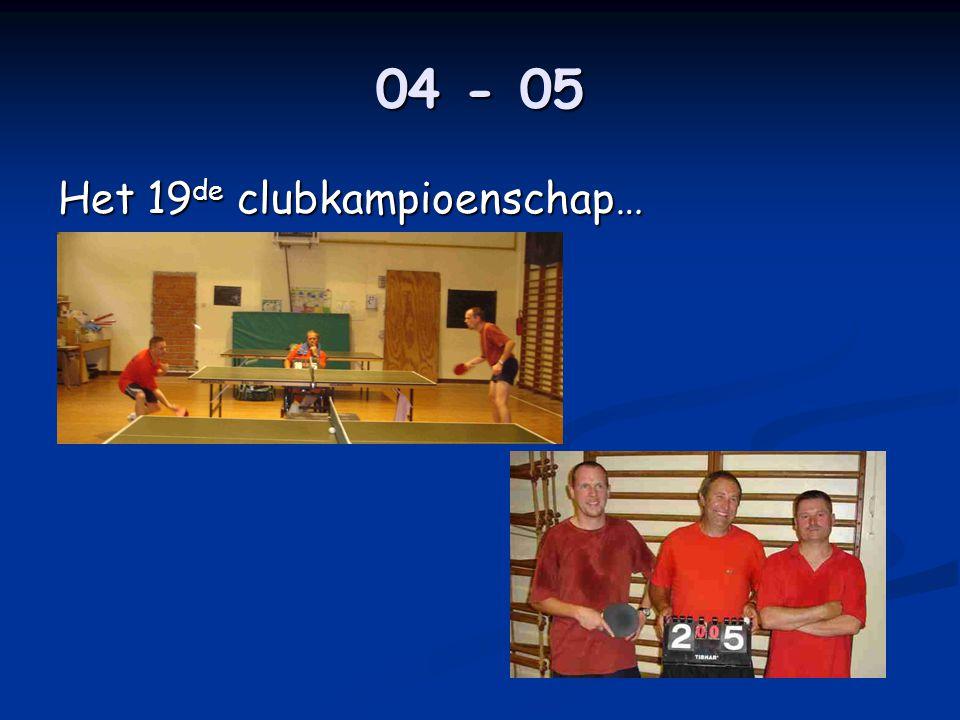 04 - 05 Het 19 de clubkampioenschap…