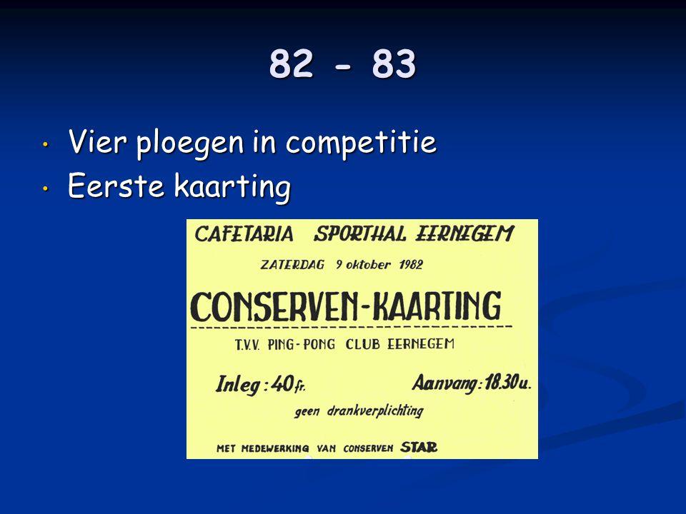 82 - 83 • Vier ploegen in competitie • Eerste kaarting