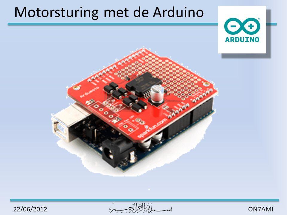 Motorsturing met de Arduino ON7AMI22/06/2012 Sturing L298 DIRA -> IN1 en DIRA -> IN2 PWMA -> EnA VIN -> VS 5V of 3.3V -> VSS SENSE_A -> GND OUT1/2 -> Motor beveiligd met externe schottky diodes DIRA -> IN1 en DIRA -> IN2 PWMA -> EnA VIN -> VS 5V of 3.3V -> VSS SENSE_A -> GND OUT1/2 -> Motor beveiligd met externe schottky diodes