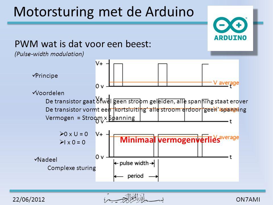 Motorsturing met de Arduino ON7AMI22/06/2012 Labo 1: Een motor van stilstand naar maximale snelheid laten oplopen in vijf stappen die elk twee seconden duren.