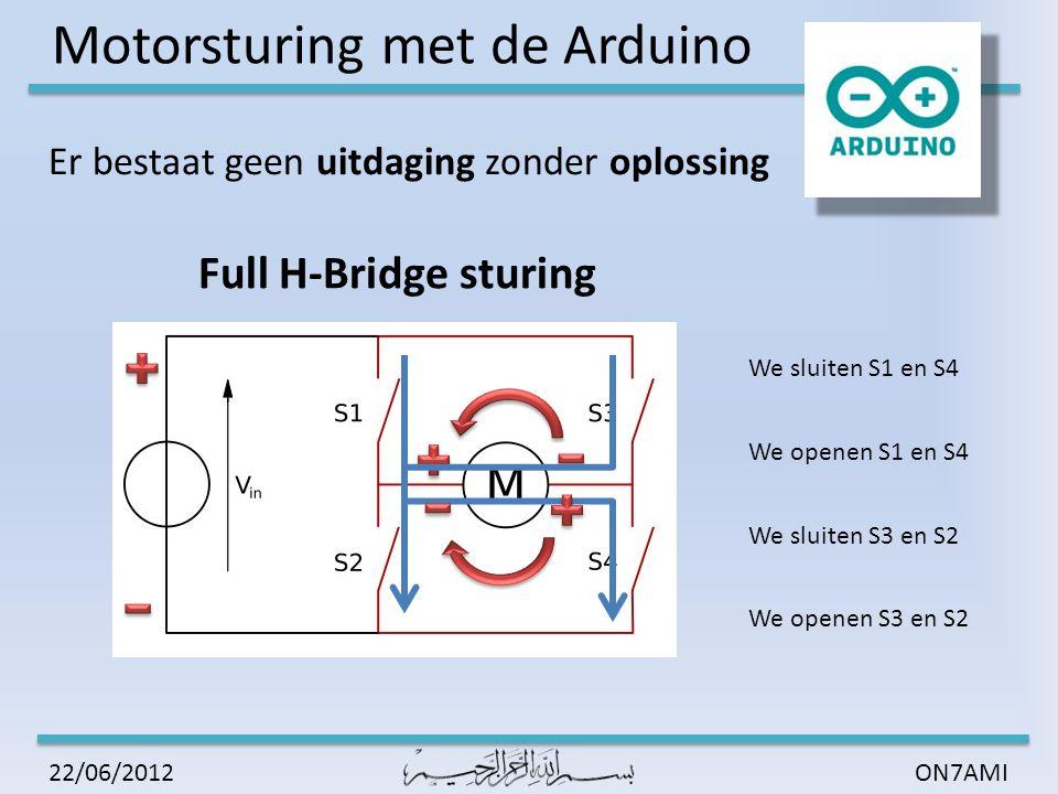 Motorsturing met de Arduino ON7AMI22/06/2012 Uitvoering met transistoren  Zelfde principe als met schakelaars  Brug met PNP – NPN  Diode over Collector – Emitter vanwege inductie motor  ALTIJD break before make