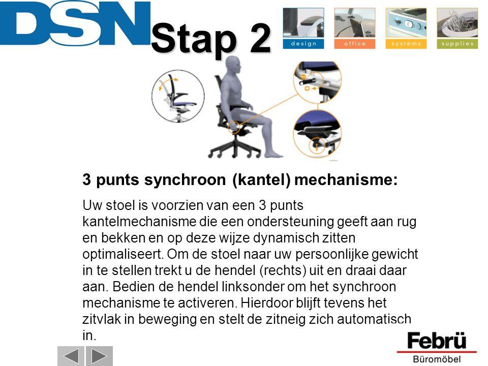 Stap 2 Stap 2 3 punts synchroon (kantel) mechanisme: Uw stoel is voorzien van een 3 punts kantelmechanisme die een ondersteuning geeft aan rug en bekk