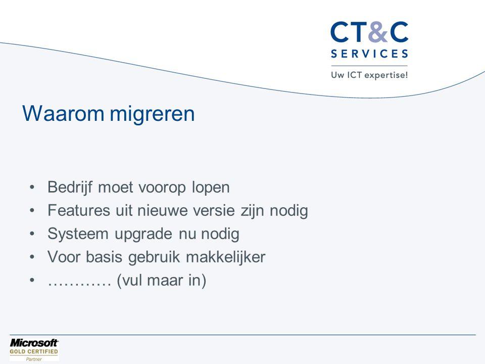 Waarom migreren •Bedrijf moet voorop lopen •Features uit nieuwe versie zijn nodig •Systeem upgrade nu nodig •Voor basis gebruik makkelijker •………… (vul