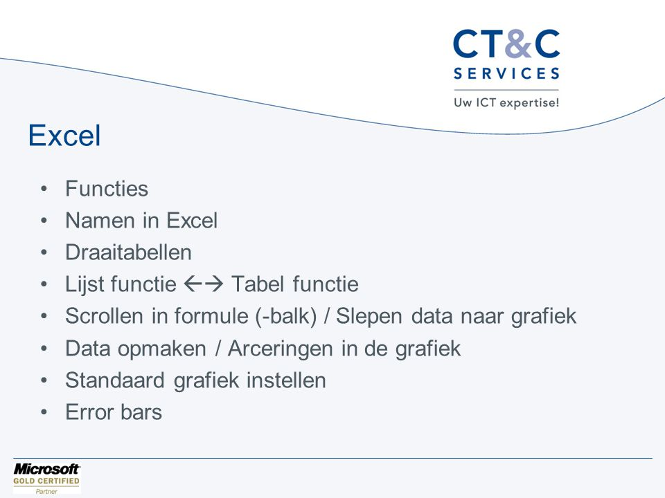 PowerPoint •Standaard thema instellen •Grafieken plakken = data in Excel en linken/koppelen •Probleem bij grafiek bewerken in Excel XP/2003
