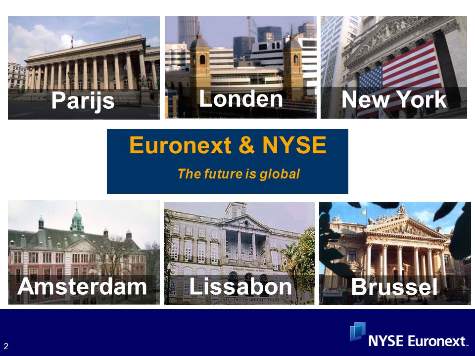 2 Euronext & NYSE The future is global Amsterdam ParijsLissabon Brussel Londen New York