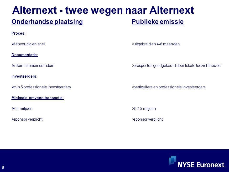 8 Alternext - twee wegen naar Alternext Onderhandse plaatsing Proces:  éénvoudig en snel Documentatie:  informatiememorandum Investeerders:  min 5