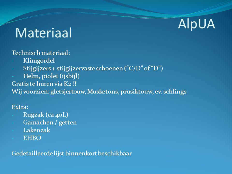 """Technisch materiaal: - Klimgordel - Stijgijzers + stijgijzervaste schoenen (""""C/D"""" of """"D"""") - Helm, piolet (ijsbijl) Gratis te huren via K2 !! Wij voorz"""