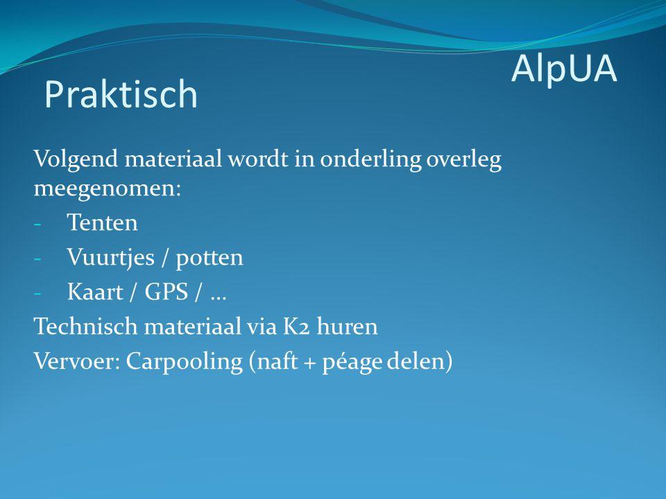 Volgend materiaal wordt in onderling overleg meegenomen: - Tenten - Vuurtjes / potten - Kaart / GPS / … Technisch materiaal via K2 huren Vervoer: Carp