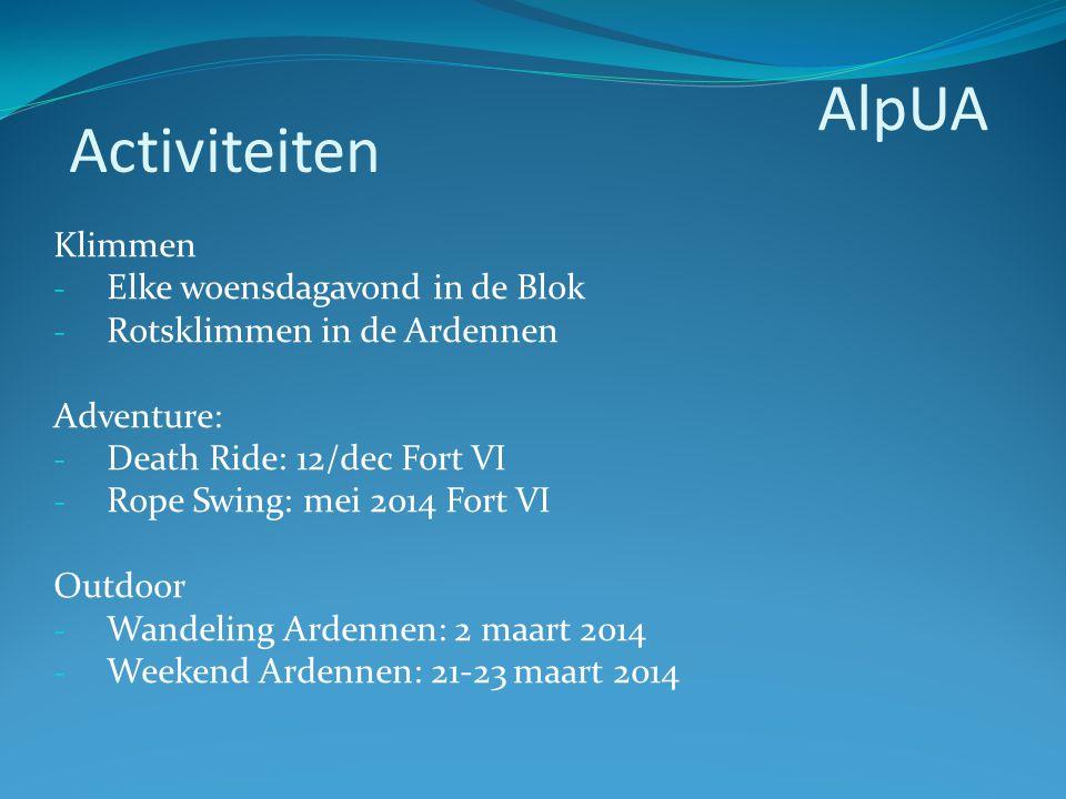 Klimmen - Elke woensdagavond in de Blok - Rotsklimmen in de Ardennen Adventure: - Death Ride: 12/dec Fort VI - Rope Swing: mei 2014 Fort VI Outdoor -