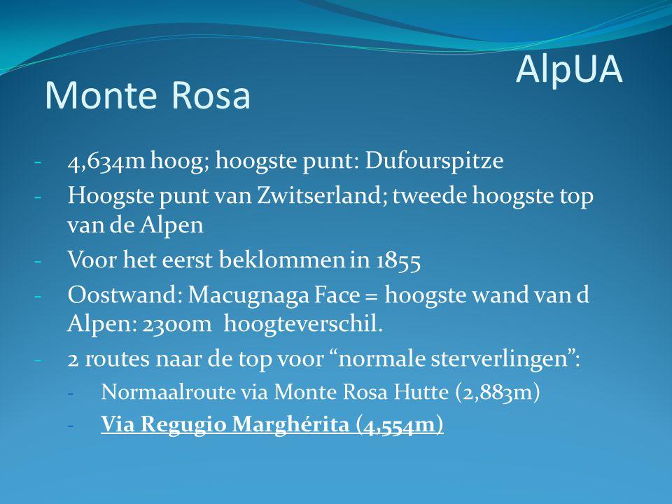 - 4,634m hoog; hoogste punt: Dufourspitze - Hoogste punt van Zwitserland; tweede hoogste top van de Alpen - Voor het eerst beklommen in 1855 - Oostwan