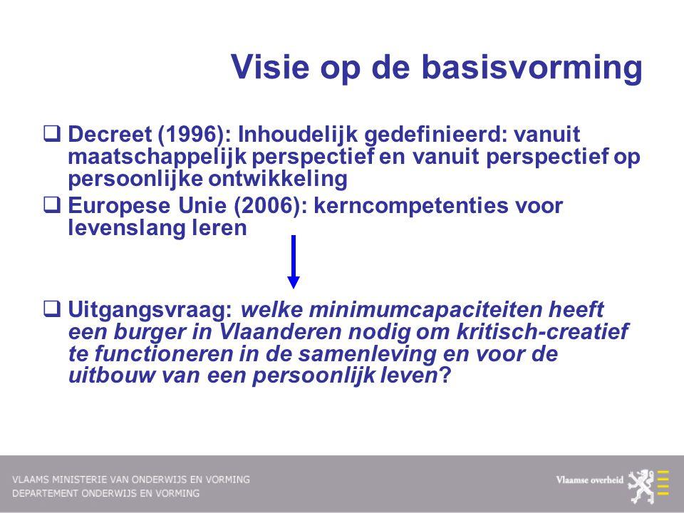 Visie op de basisvorming  Decreet (1996): Inhoudelijk gedefinieerd: vanuit maatschappelijk perspectief en vanuit perspectief op persoonlijke ontwikke