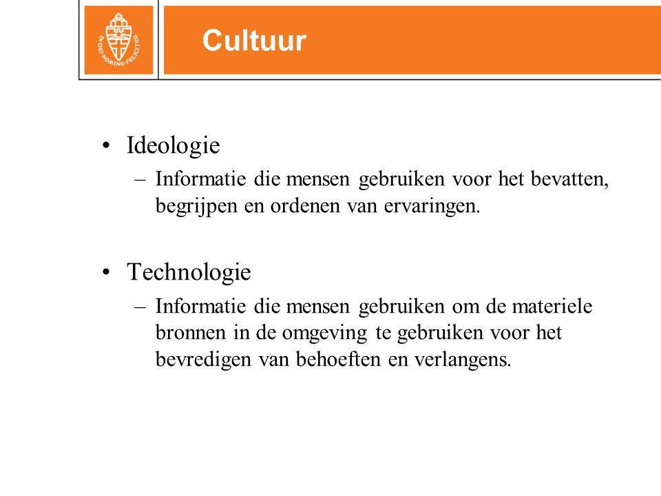 •Ideologie –Informatie die mensen gebruiken voor het bevatten, begrijpen en ordenen van ervaringen. •Technologie –Informatie die mensen gebruiken om d