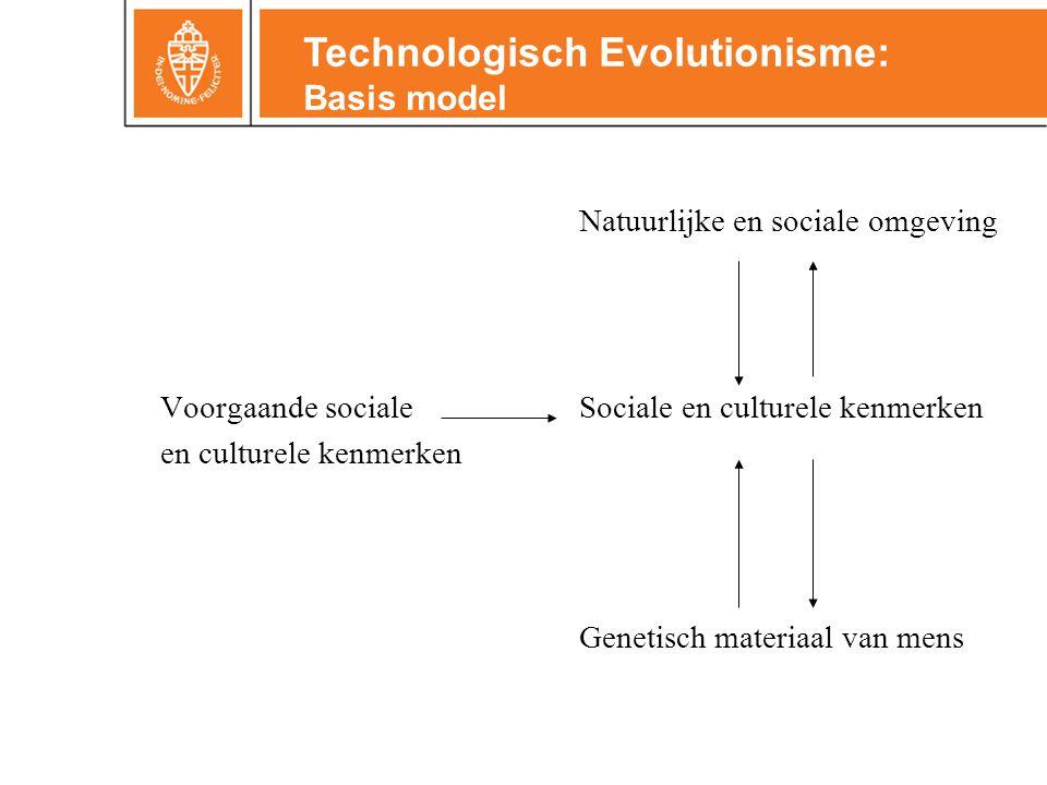 Natuurlijke en sociale omgeving Voorgaande sociale Sociale en culturele kenmerken en culturele kenmerken Genetisch materiaal van mens Technologisch Evolutionisme: Basis model