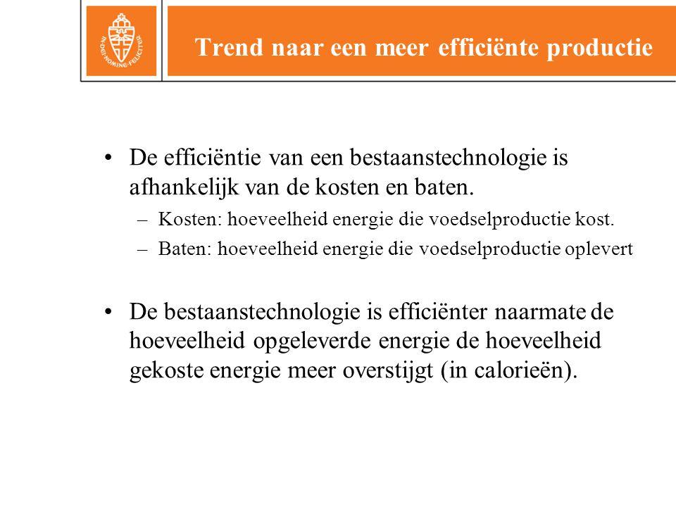 Trend naar een meer efficiënte productie •De efficiëntie van een bestaanstechnologie is afhankelijk van de kosten en baten. –Kosten: hoeveelheid energ