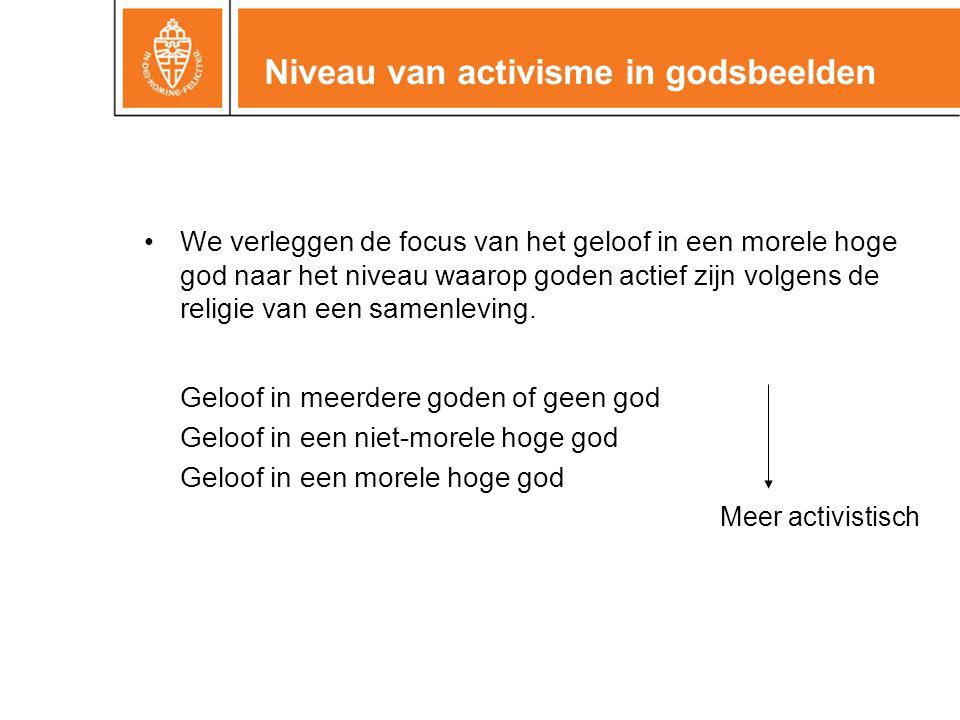 Niveau van activisme in godsbeelden •We verleggen de focus van het geloof in een morele hoge god naar het niveau waarop goden actief zijn volgens de r