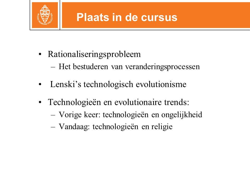 •Rationaliseringsprobleem –Het bestuderen van veranderingsprocessen • Lenski's technologisch evolutionisme •Technologieën en evolutionaire trends: –Vorige keer: technologieën en ongelijkheid –Vandaag: technologieën en religie Plaats in de cursus