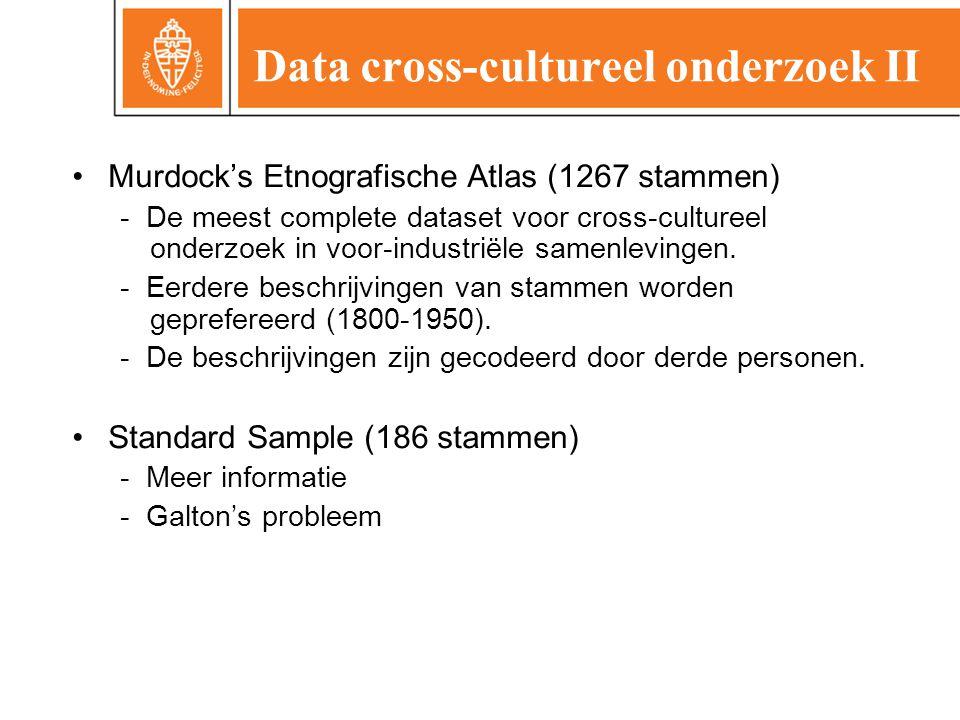 Data cross-cultureel onderzoek II •Murdock's Etnografische Atlas (1267 stammen) - De meest complete dataset voor cross-cultureel onderzoek in voor-industriële samenlevingen.