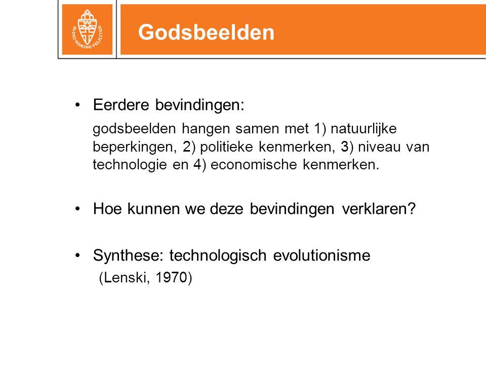 Godsbeelden •Eerdere bevindingen: godsbeelden hangen samen met 1) natuurlijke beperkingen, 2) politieke kenmerken, 3) niveau van technologie en 4) economische kenmerken.