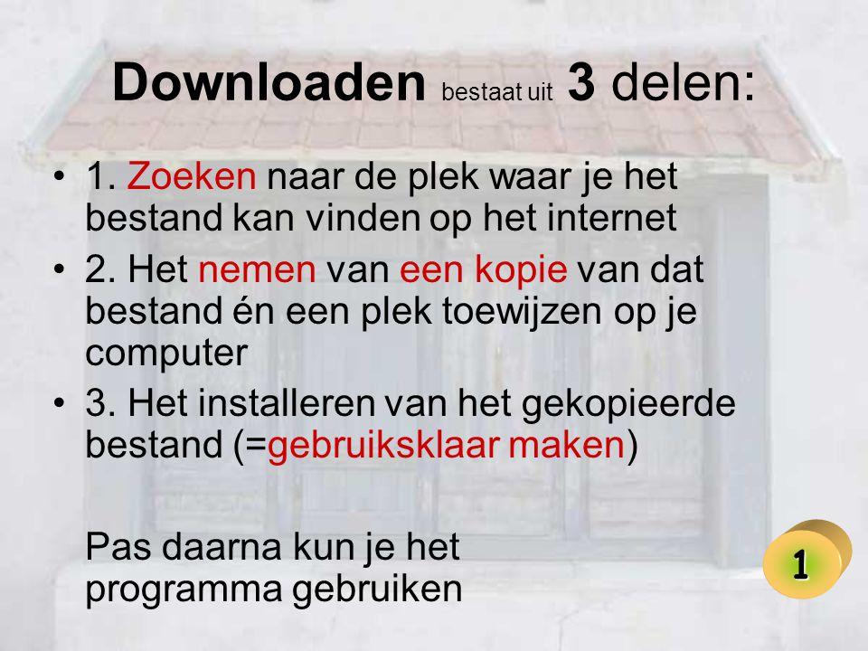 Downloaden bestaat uit 3 delen: •1. Zoeken naar de plek waar je het bestand kan vinden op het internet •2. Het nemen van een kopie van dat bestand én